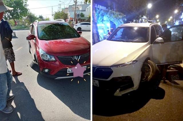 Hai xe VinFast gặp tai nạn.