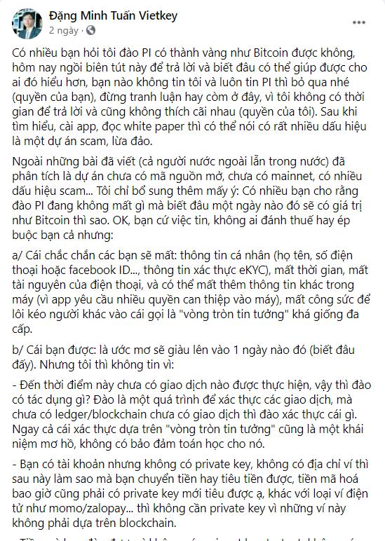 Chia sẻ của TS Đặng Minh Tuấn về Pi network