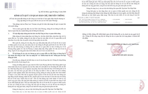 Thông cáo do luật sư của bà Phương đưa ra.