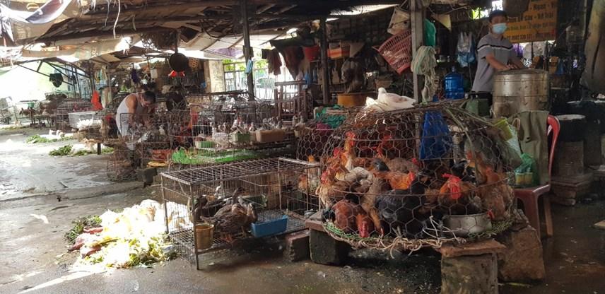 Hàng thịt gia cầm tại chợ Tó chỉ có chủ và hàng.