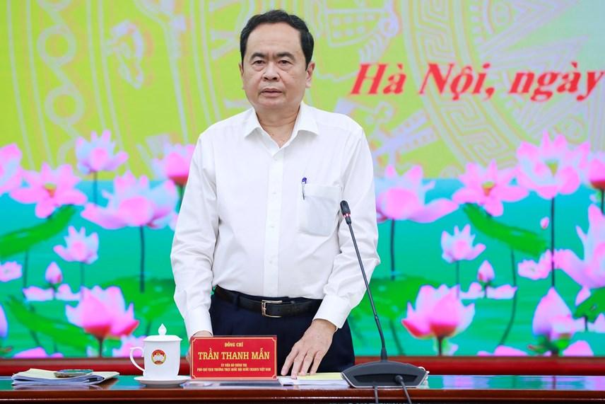 Phó Chủ tịch Thường trực Quốc hội Trần Thanh Mẫn phát biểu tại cuộc làm việc.