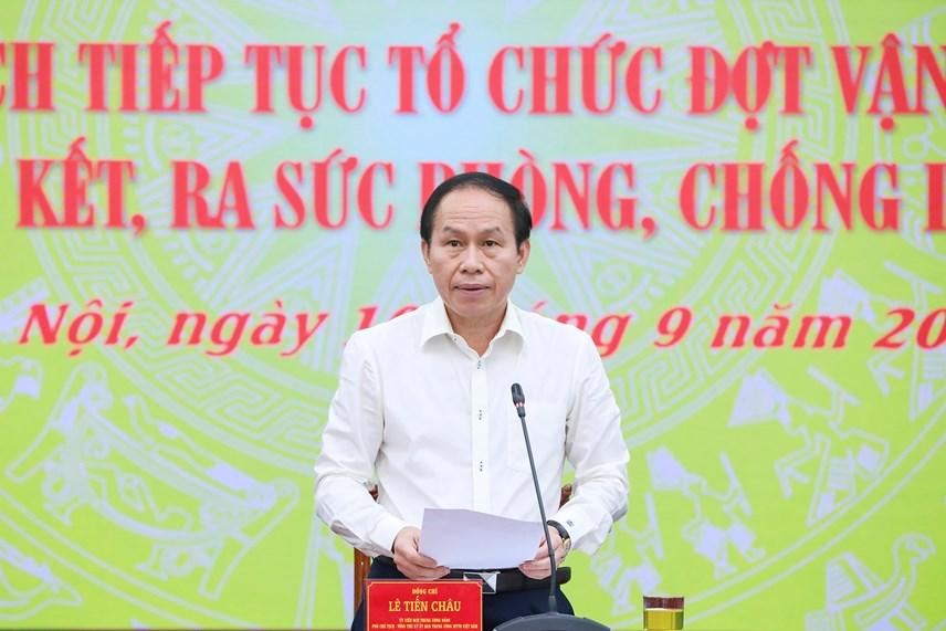 Phó Chủ tịch - Tổng Thư ký Lê Tiến Châu phát biểu tại Hội nghị.