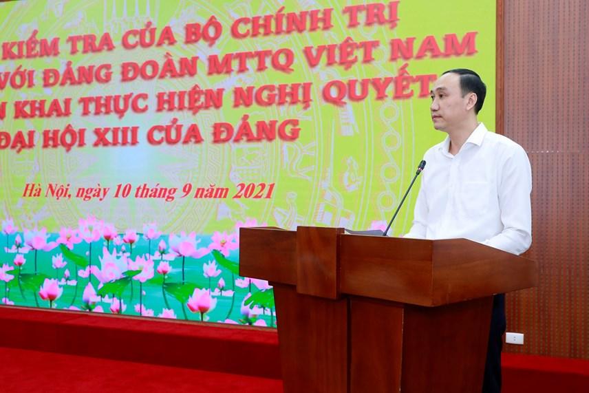 Phó Chủ tịch Phùng Khánh Tài phát biểu tại cuộc làm việc.