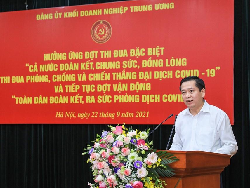 Bí thư Đảng ủy Khối Doanh nghiệp Trung ương phát biểu tại buổi lễ.
