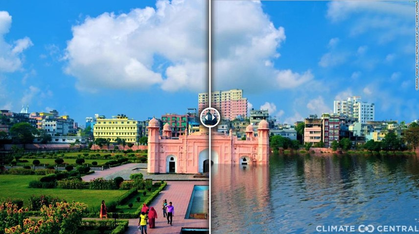 Hình ảnh Pháo đài Lalbagh ở thủ đô Dhaka, Bangladesh nếu Trái đất nóng lên 3 độ C. Ảnh: CNN
