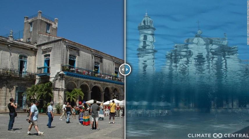 Hình ảnh Quảng trường Nhà thờ (Plaza de la Catedral) ở thủ đô Havana, Cuba khi mực nước biển dâng cao. Ảnh: CNN