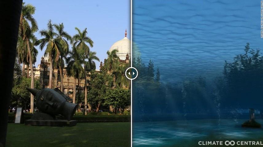 Lũ lụt do biến đổi khí hậu được mô phỏng tại bảo tàng Chhatrapati Shivaji Maharaj Vastu Sangrahalaya ở Mumbai, Ấn Độ. Ảnh: CNN