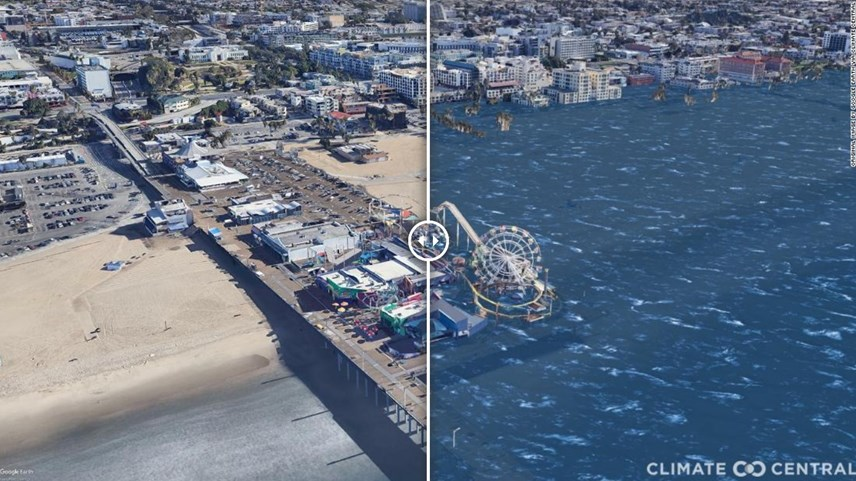 Hình ảnh Cầu tàu ở Santa Monica, California nếu Trái đất nóng lên 3 độ C. Ảnh: CNN