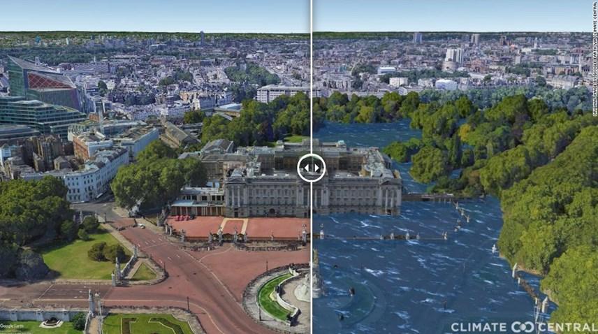 Cung điện Buckingham ở thủ đô London khi mực nước biển dâng cao do sự nóng lên toàn cầu. Ảnh: CNN