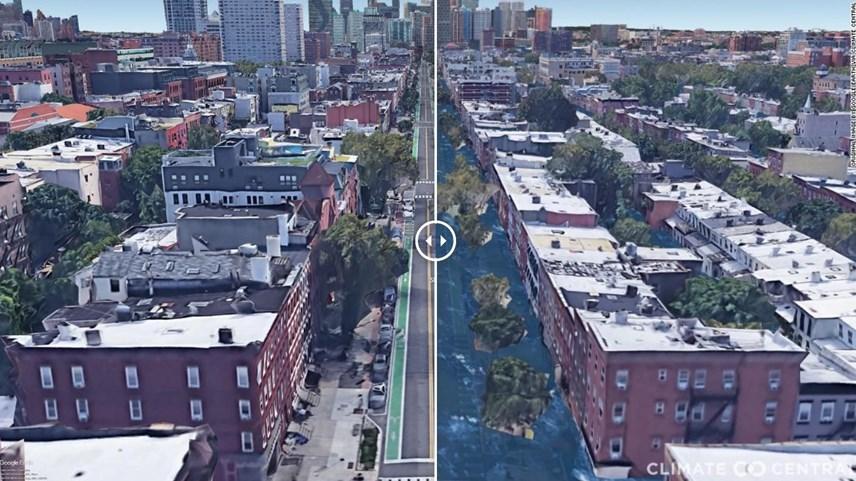 Hình ảnh thành phố Hoboken ở New Jersey nếu Trái đất nóng lên 3 độ C. Ảnh: CNN