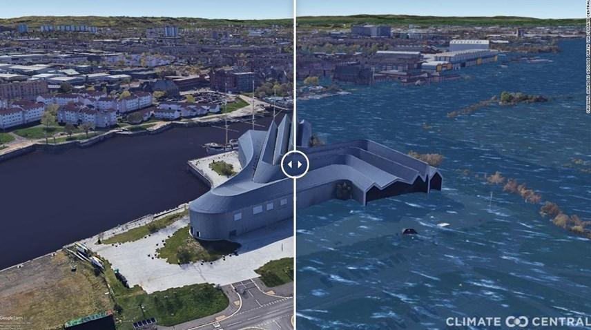 Bảo tàng Riverside ở Glasgow, Scotland khi mực nước biển dâng cao do sự nóng lên toàn cầu. Ảnh: CNN