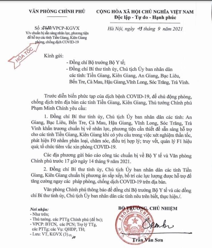 Công văn hoả tốc của Văn phòng Chính phủ gửi các tỉnh ĐBSCL.