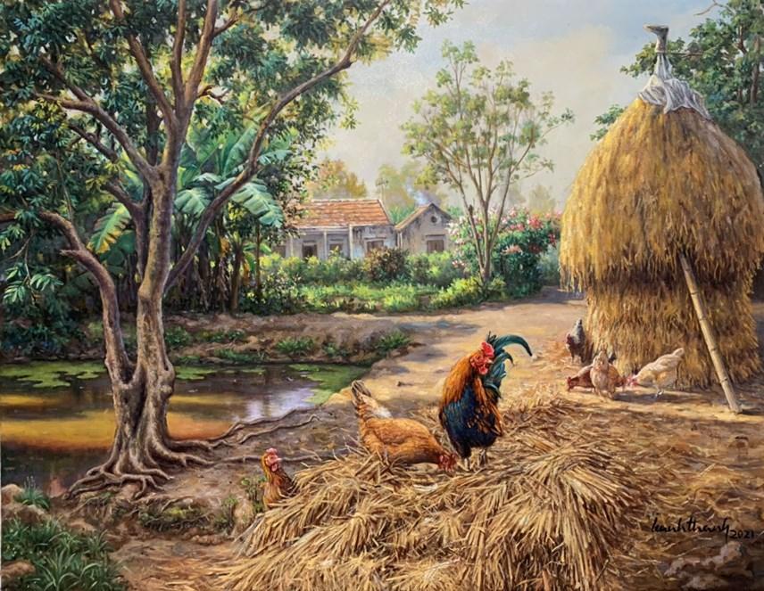 Một vùng quê ở Thanh Hóa hiện lên dưới nét vẽ tài hoa của họa sĩ 7X. Ảnh: NVCC.