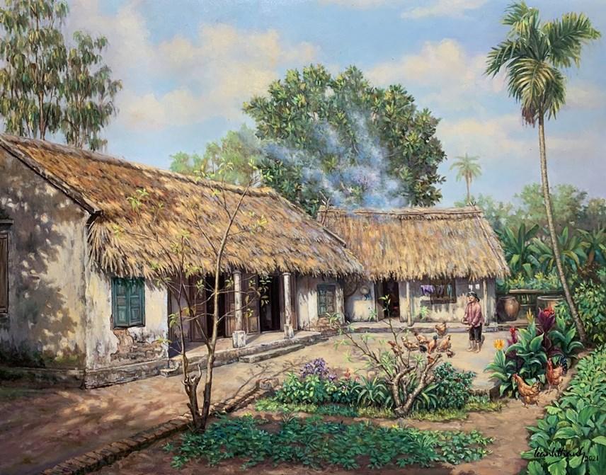 Ngôi nhà đơn sơ, rợp mái tranh, dù nghèo nhưng đầy ắp nghĩa tình. Ảnh: NVCC.