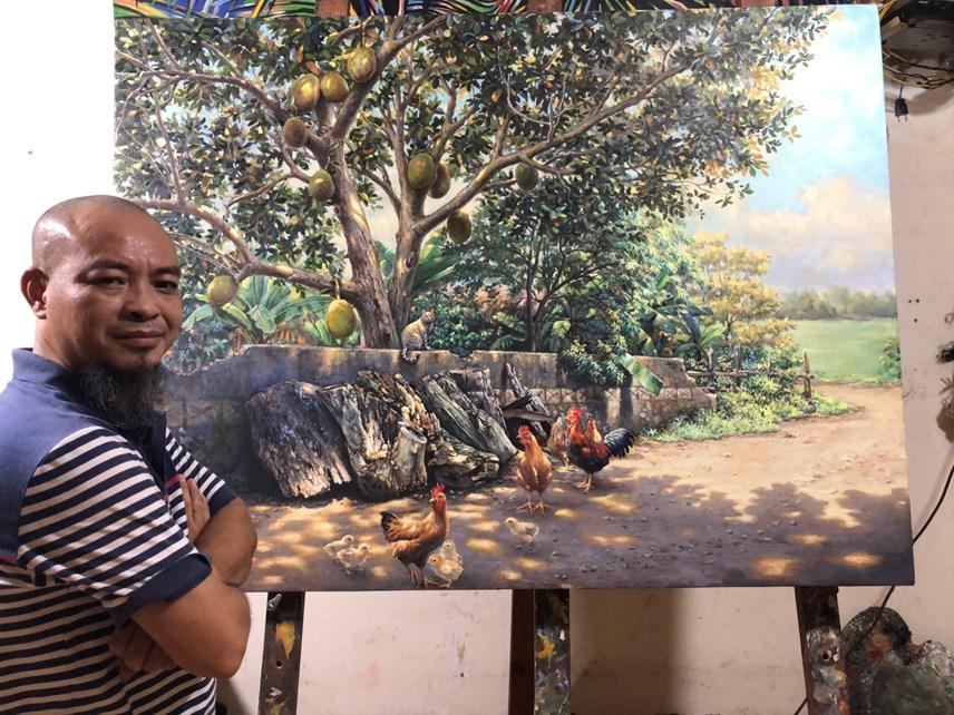Tranh của họa sĩ Lê Anh Thanh vẽ bằng chất liệu sơn dầu trên vải bố. Ảnh: NVCC.