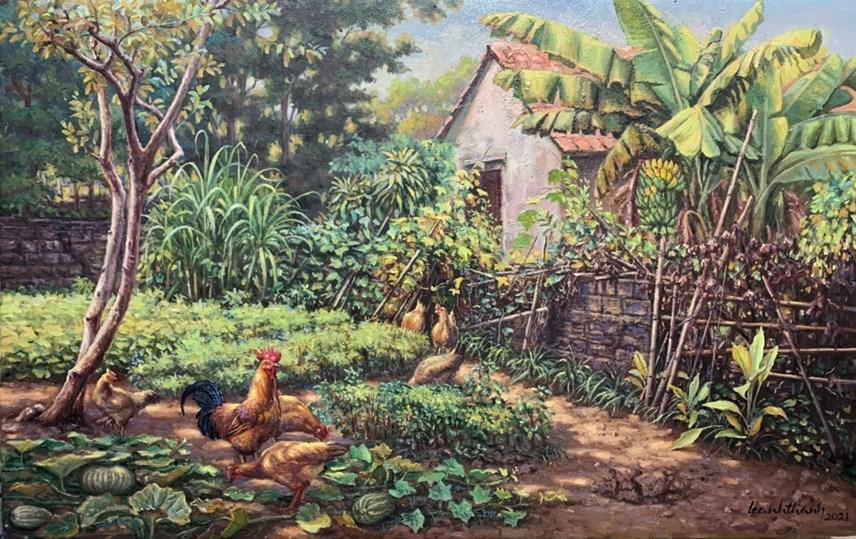 Hình ảnh đàn gà kiếm ăn trong vườn thân thương trong ký ức của nhiều người con xa quê. Ảnh: NVCC.